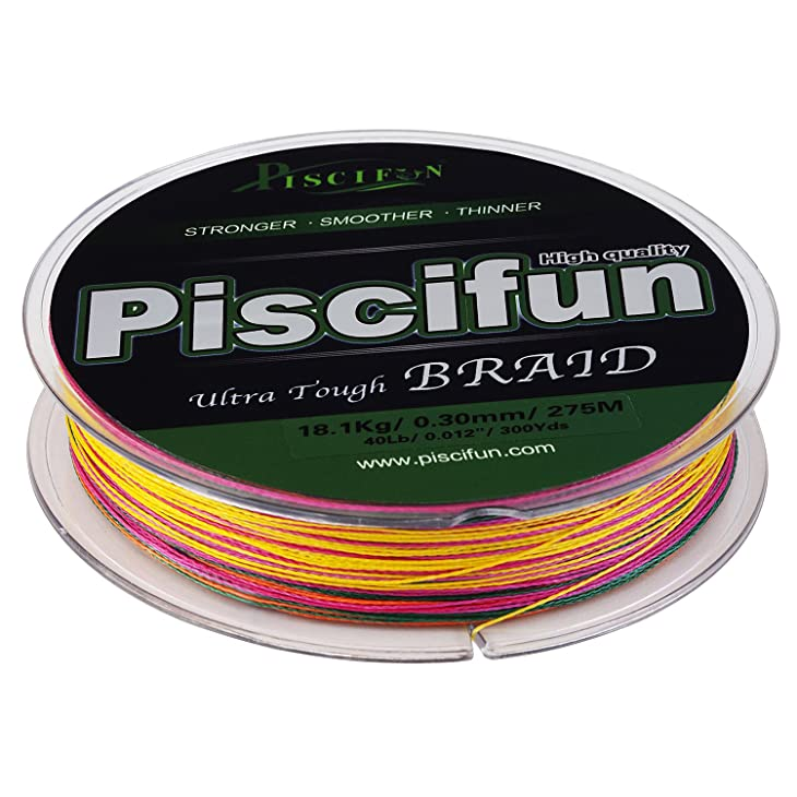 Piscifun Braided Fishing Line Multicolor Advanced Strong 150yards 300yards 547yards PE Line