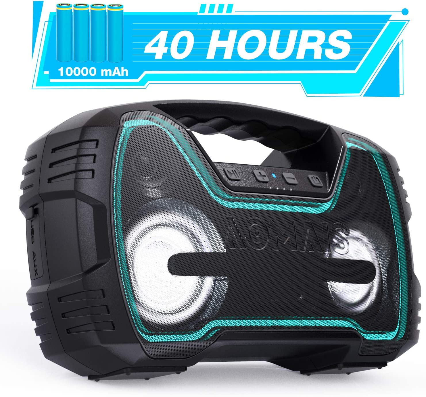 Portable IPX7 Waterproof Bluetooth Speakers, 40-Hour Playtime Wireless Outdoor Speaker