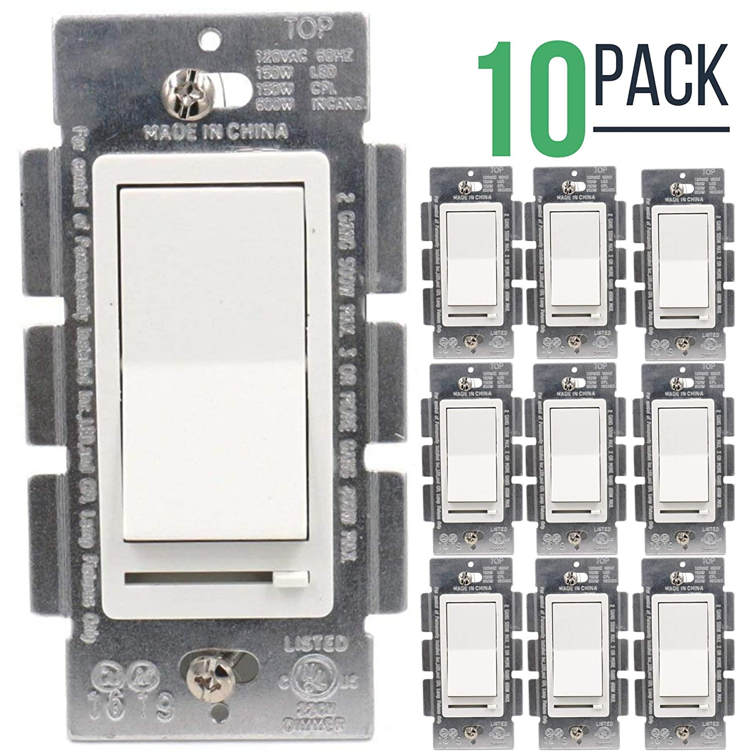 3 Way White Dimmer Switch Single Pole Decora Rocker Slide Fluorescent 150w Led For Dimmable