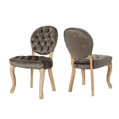 Christopher Knight Home Xenia Tufted Velvet Dining Chairs Set of 2 , Grey Natural