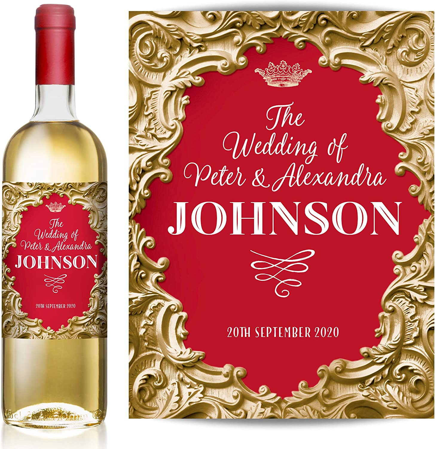 Wedding Hen Night Anniversary Gold//Black Engagement TigerMill Publishing Personalised Gold and Colour Inlay Wine Labels for Any Occasion or Event Birthday Christmas Congratulations etc