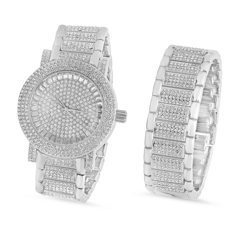 Herren Bling Master Uhr und Armband Set Iced Out w-Zirkonia Steinen