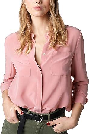 Scalpers Camisa Seda Bolsillos - Camisa para Mujer, Talla S, Color salmón: Amazon.es: Ropa y accesorios