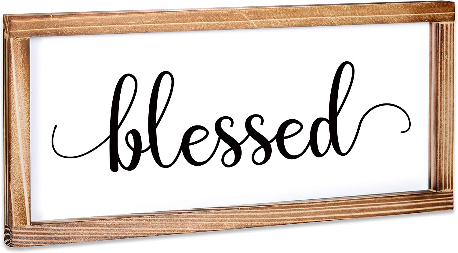 Blessed Sign - Rustic Farmhouse Decor for the Home Sign - Wall Decorations for Living Room, Modern Farmhouse Wall Decor, Rustic Home Decor, Blessed Farmhouse Sign with Solid Wood Frame - 8x17 Inches