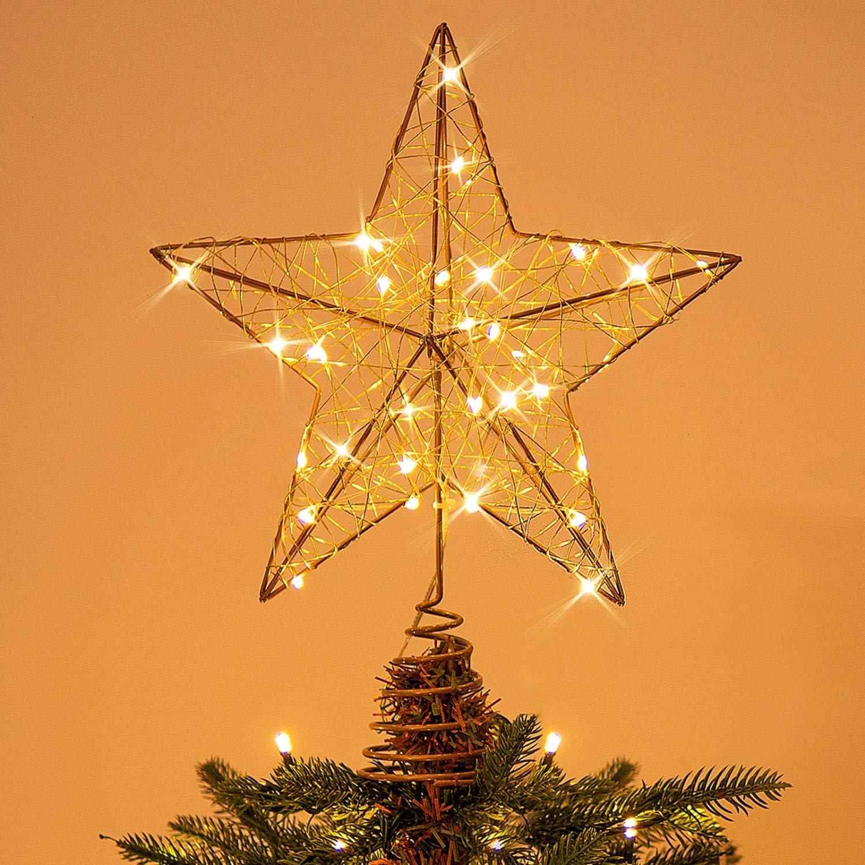 Rocinha Gold Christmas Tree Topper Star Lighted Tree Star Wire Star for Christmas Tree, 10 Inches Christmas Star Tree Topper with 30 LED Lights
