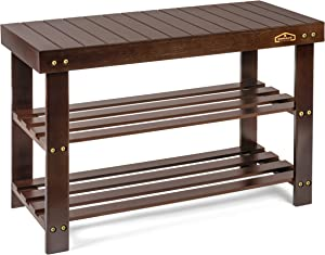 Homemaid Living Bamboo 3 Tier Shoe Rack Bench, Premium Shoe Organizer or Entryway Bench, Perfect for Shoe Cubby, Entry Bench, Bathroom Bench, Entryway Organizer, Hallway or Living Room(Brown)
