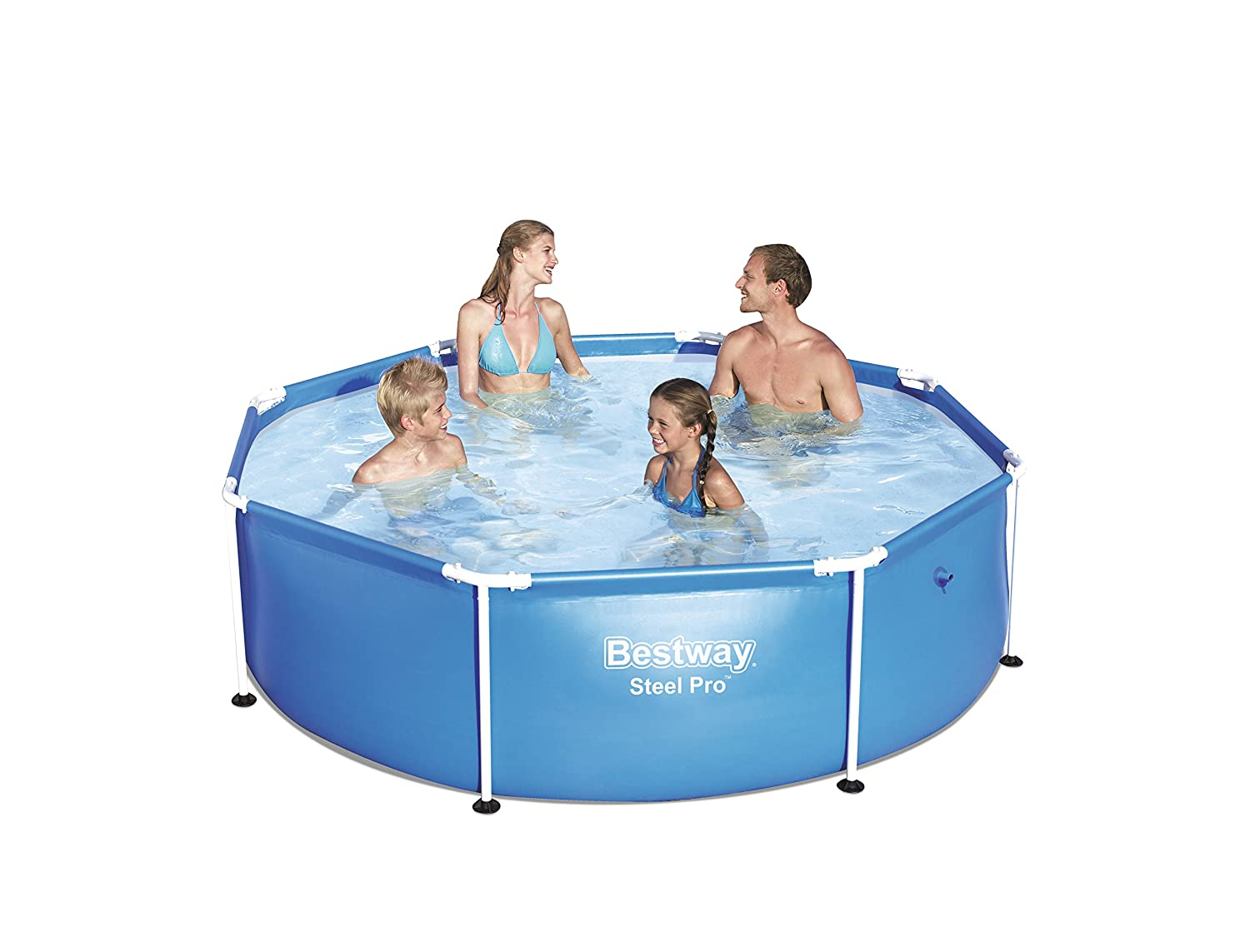 Bestway 56432-BEUX16AB02 Splash Frame Pool in Shade, with a Sun Canopy and Sprinkler 244 x 51 - Orange.