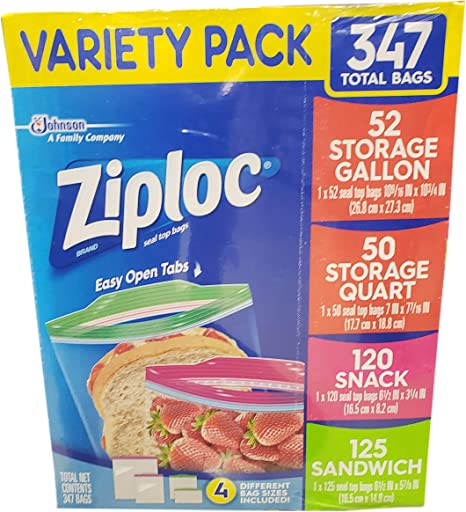 Ziploc Variety Pack 347 Total Bags by SC Johnson: Amazon.es: Hogar