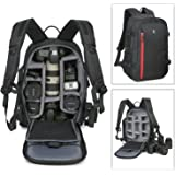 Abonnyc Large DSLR Camera Backpack Bag Case / Oxford Hiking Bag Laptop Travel Backpack Gadget Bag w/ Rain Cover , Black
