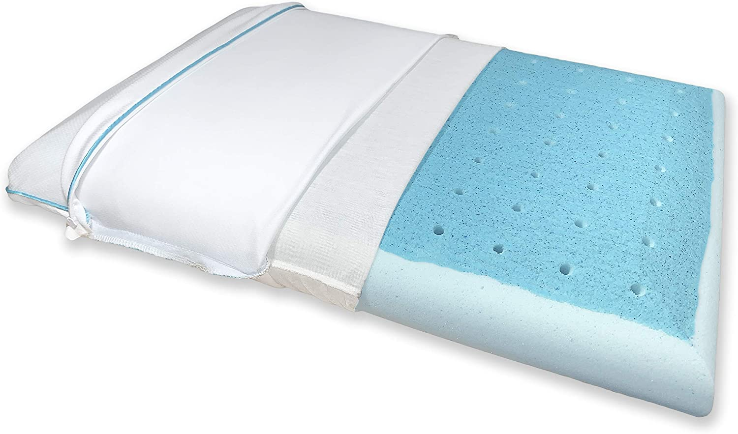 Bluewave Bedding Super Slim CarbonBlue Max Cool Gel Memory Foam Pillow for Stomach and Back Sleepers - Thin and Flat Design for Spinal Alignment, Better Breathing and Enhanced Sleeping (Standard Size)