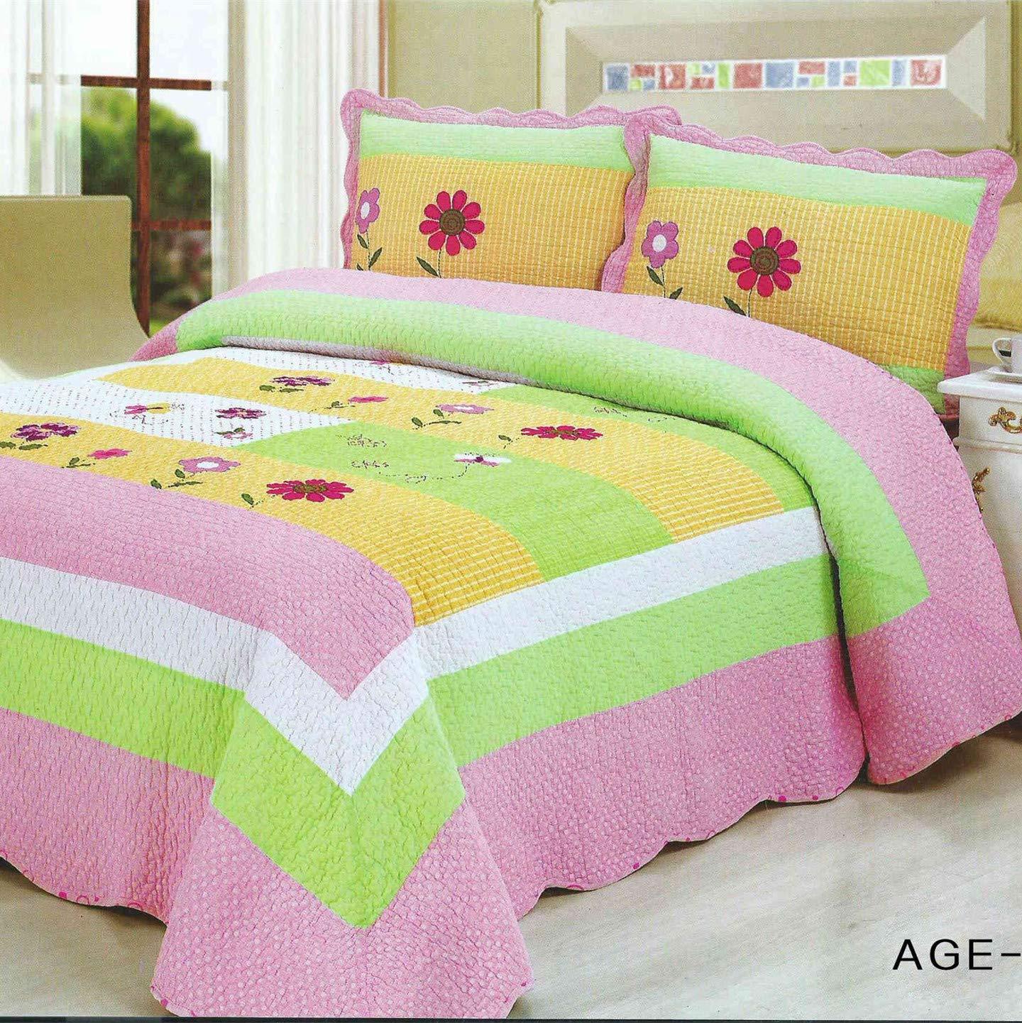 Brandream Kids Twin Size 100% Cotton Girls Bed Set Pink Green Flower  Patchwork Quilts 2-Piece