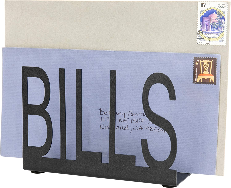 MyGift Black Metal Mail Holder with Bills Cutout Design