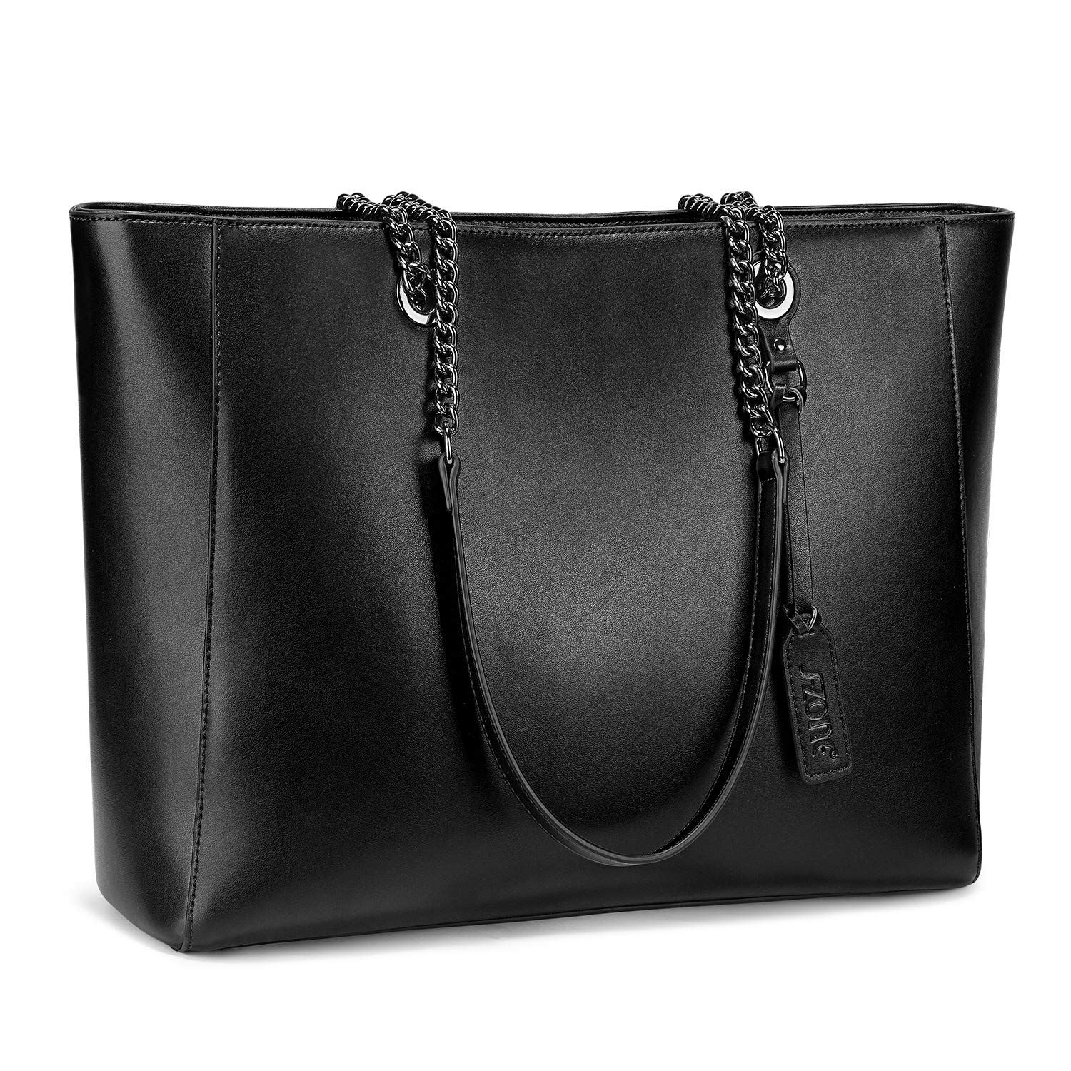 S-ZONE Women Leather Tote Bag Genuine Leather Shoulder Bag Fit Up to 15.6 in Laptop by S-ZONE (Image #1)