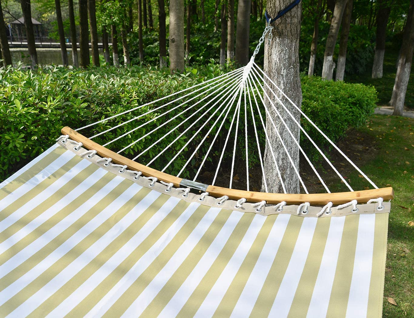 Patio Watcher 14 FT Quick Dry Hammock Folding Curved Bamboo Spreader Bar Portable Hammock for Camping Outdoor Patio Yard Water Resistance and UV Resistance
