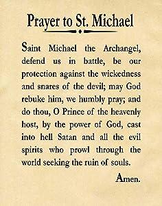 Wallbuddy Prayer to St Michael The Archangel Christian Prayer Print (5 x 7, Parchment)