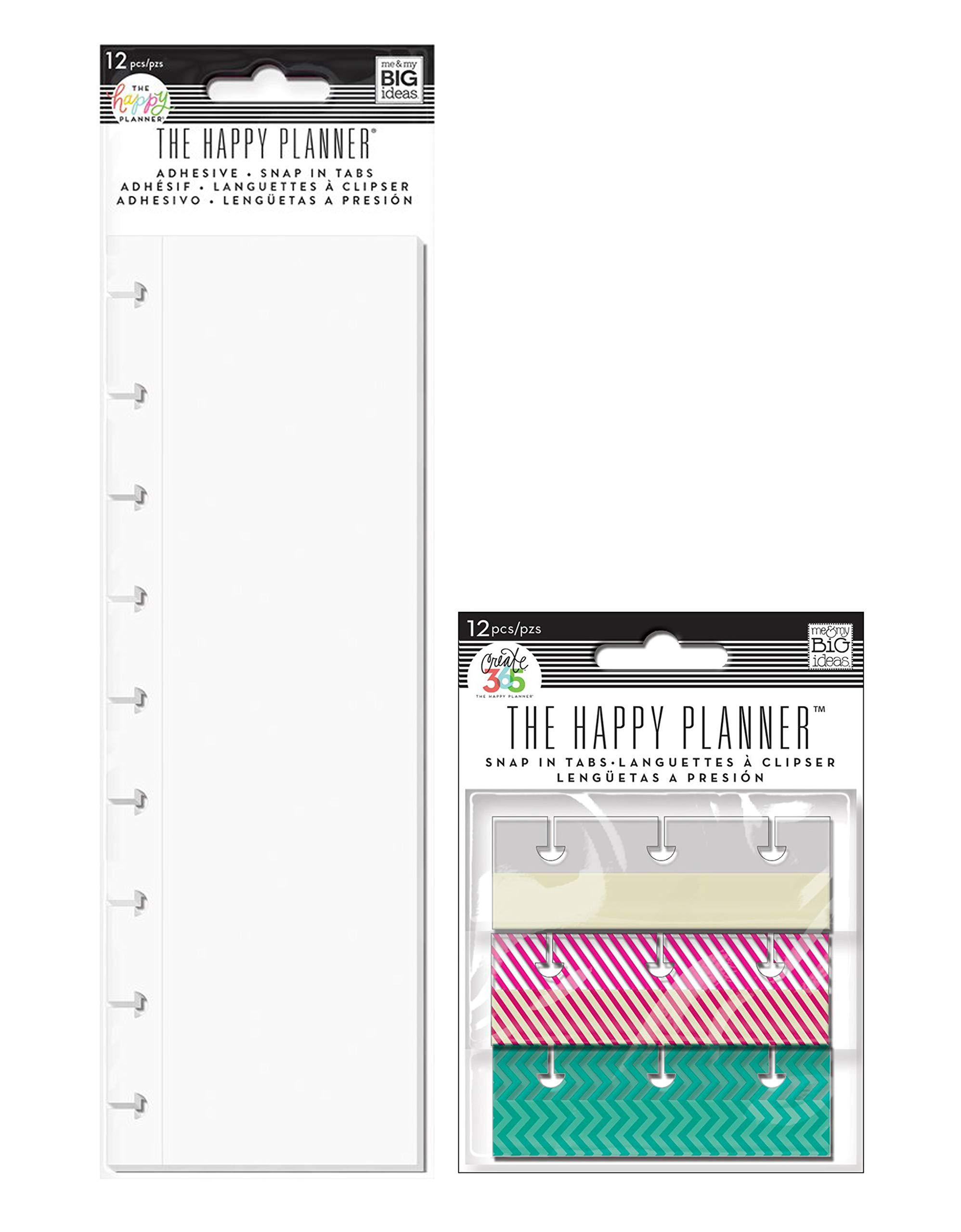me & My Big Ideas Create 365 Sticker Storage Book Refill Tabs and Snap in Tabs, Fun Brights (Set of 2)