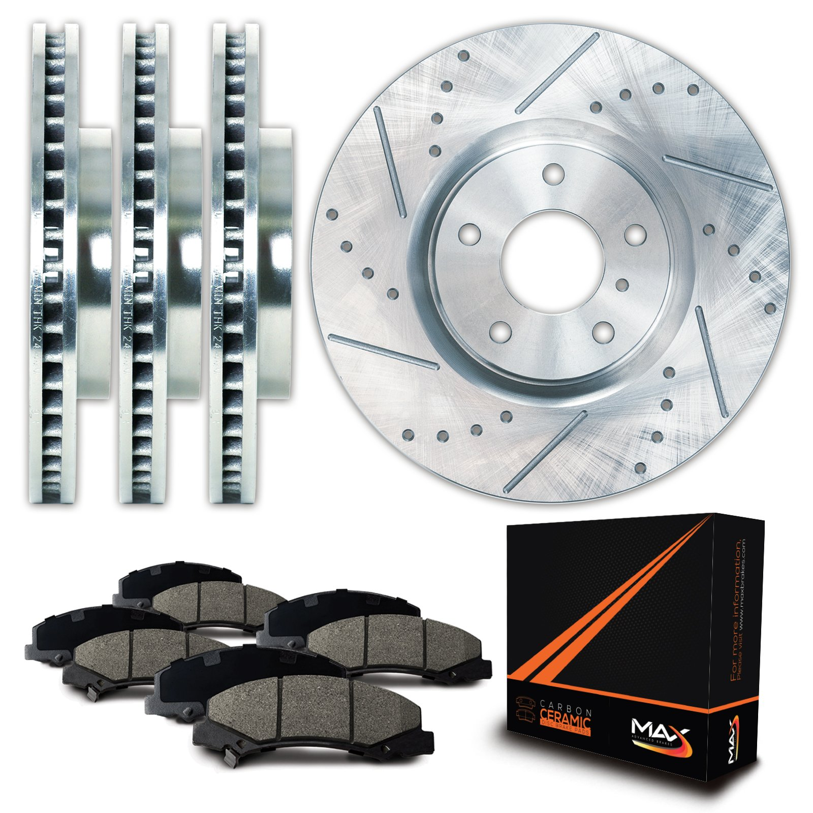 Max KT004313 Front + Rear Silver Slotted & Cross Drilled Rotors and Ceramic Pads Combo Brake Kit by Max Advanced Brakes