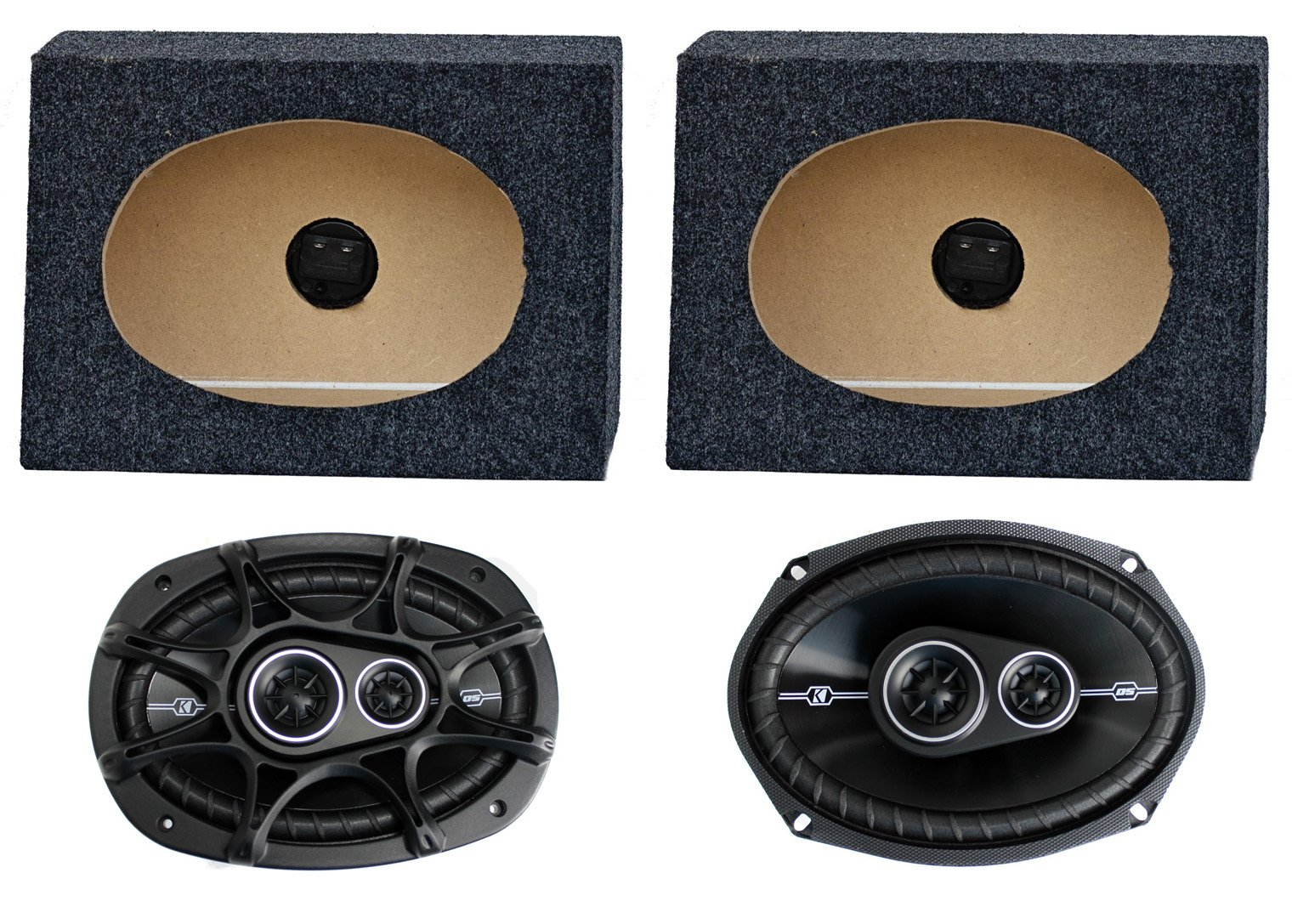 2) Kicker 41DSC6934 6x9'' 360W Car Speakers + 2) QTW6X9 Angled 6x9'' Speaker Box
