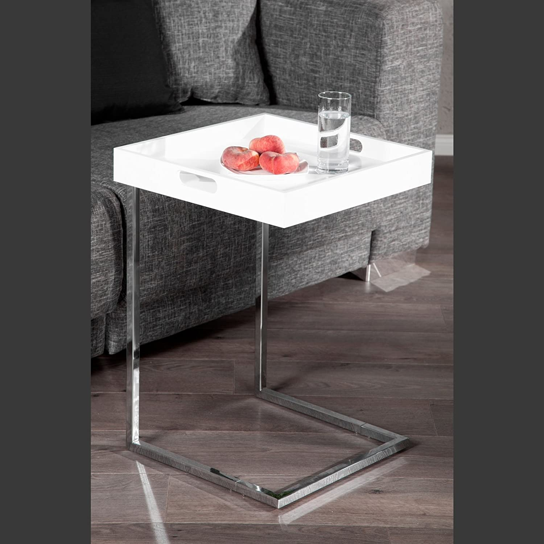 TAVOLINO VASSOIO | bianco, 58 cm, con vassoio removibile | tavolo d'appoggio XTRADEFACTORY GMBH