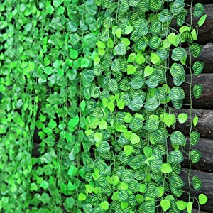 156 feet Fake Foliage Garland Leaves Decoration Artificial Greenery Ivy Vine Plants for Home Decor Indoor Outdoors (Watermelon Leaves)