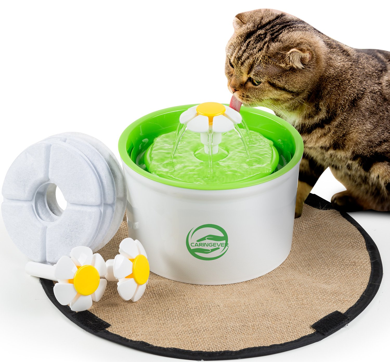 Cat Flower Fountain – Automatic Water Dispenser For Kitty And Dog Pets – Elevated Electric Drinking Fountain For Indoor Use – With A Waterproof Scratch Mat – Silent Pump With Filter- by CaringEver