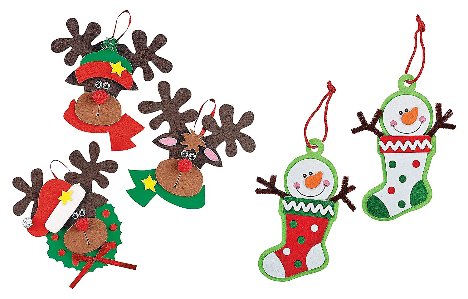 Reindeer and Snowman Christmas Ornament Kits Set of 24 Christmas Crafts for Kids