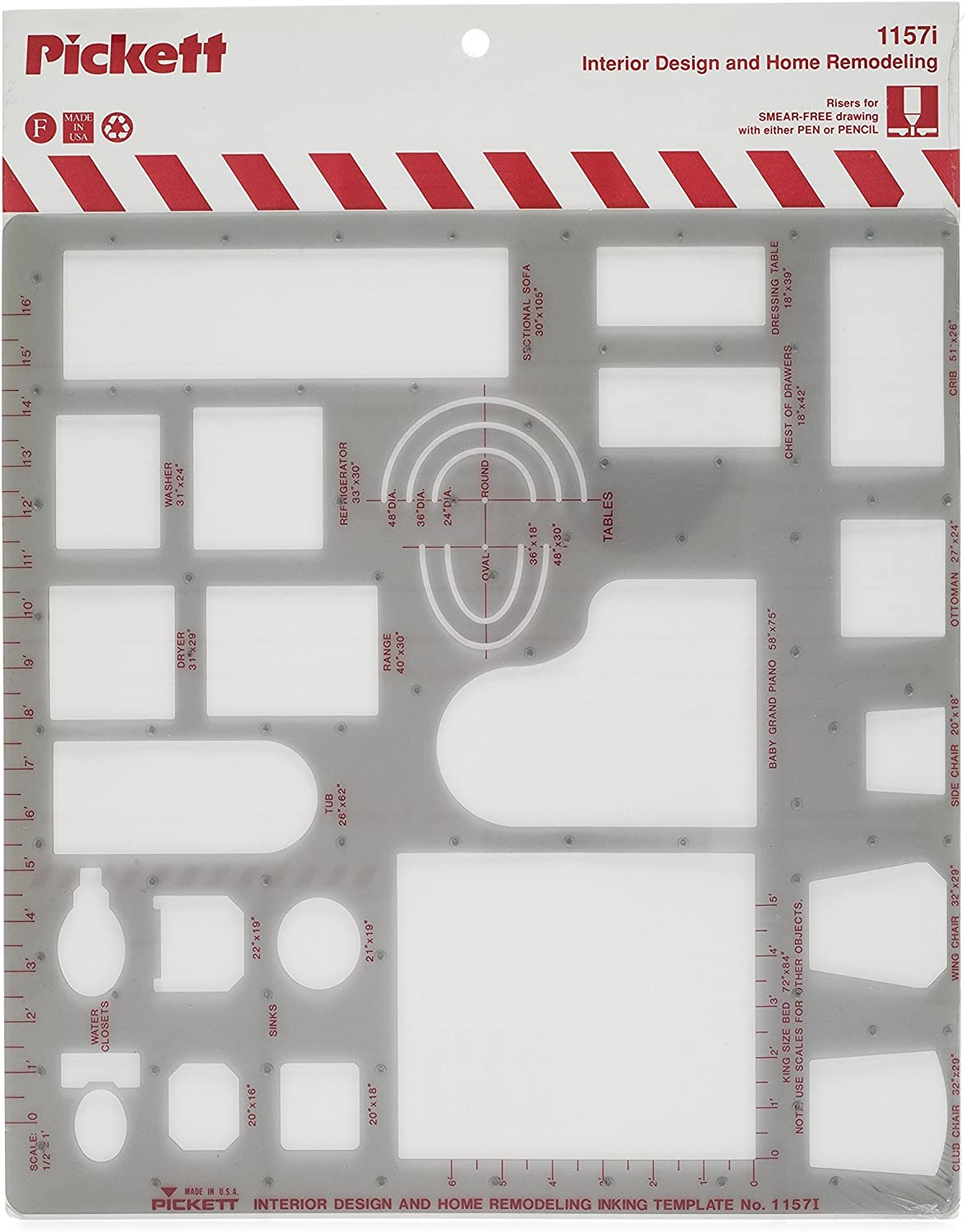 Pickett Interior Design and Home Modeling Template, 1/2 Inch Scale (1157I)