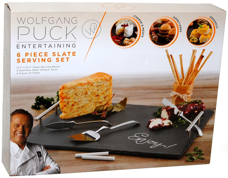 amazon com wolfgang puck 6 piece slate serving set cheese plates
