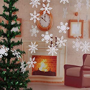 LeeSky Christmas Party Decorations,27Pcs Glittery White Snowflake Winter Wonderland Hanging Garland Flags -Christmas Home Decor Holiday New Years Party Decorations