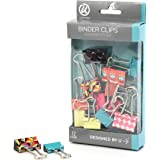 U Brands Binder Clips, Medium 1-Inch Width, Small 3/4-Inch Width, Pop Spring Fashion Colors, 12-Count
