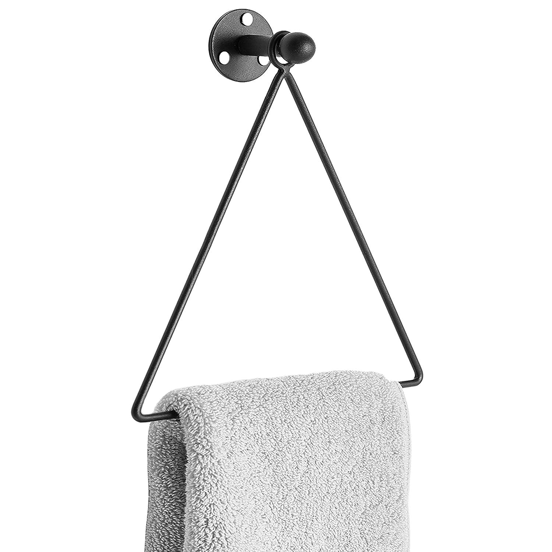 Modern Wall Mounted Triangle Metal Bathroom Kitchen Hand Towel Bar Rack, Black