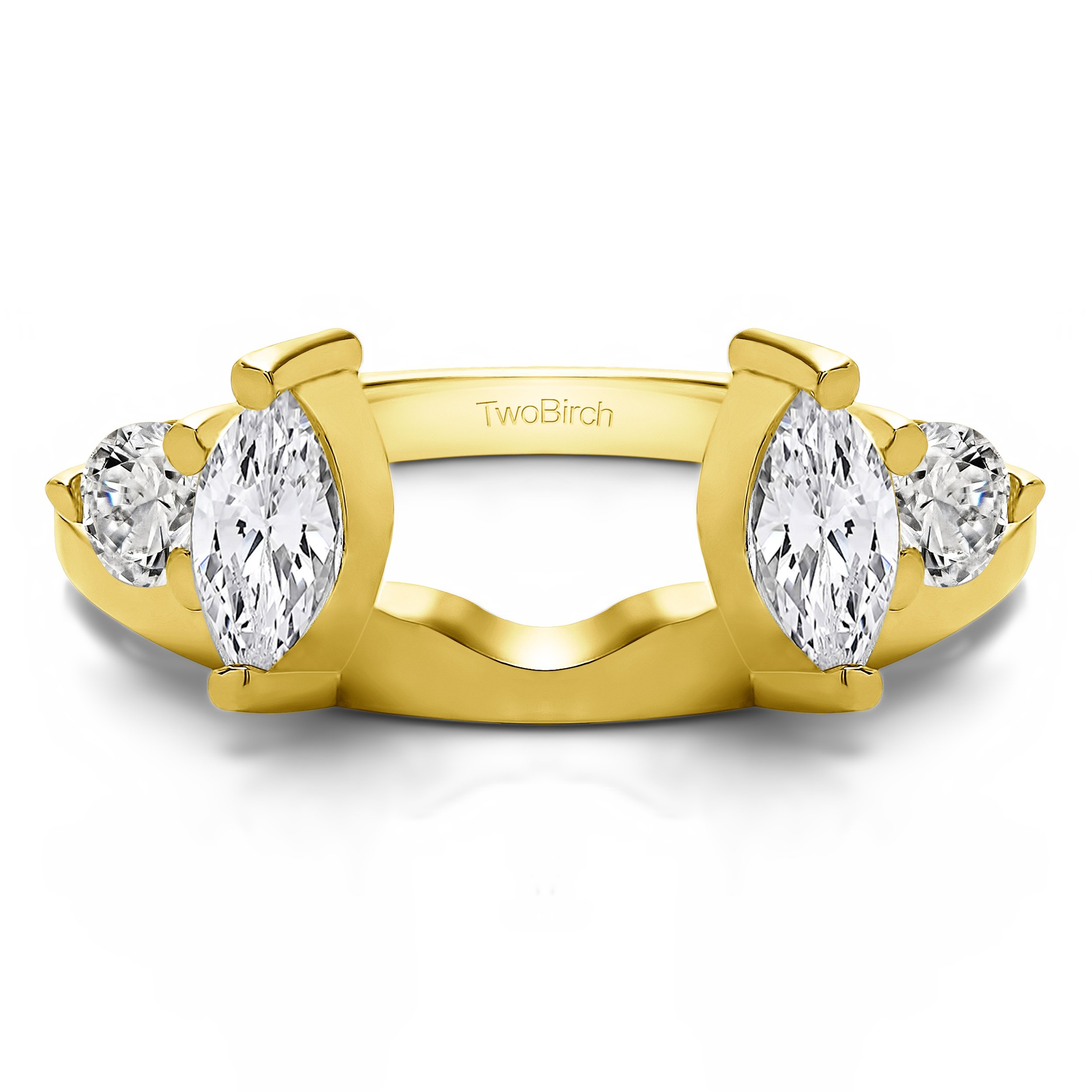 Solitaire Ring Wrap Enhancer set in Yellow Gold set with CZ(1Ct) Size 3 To 15 in 1/4 Size Interval