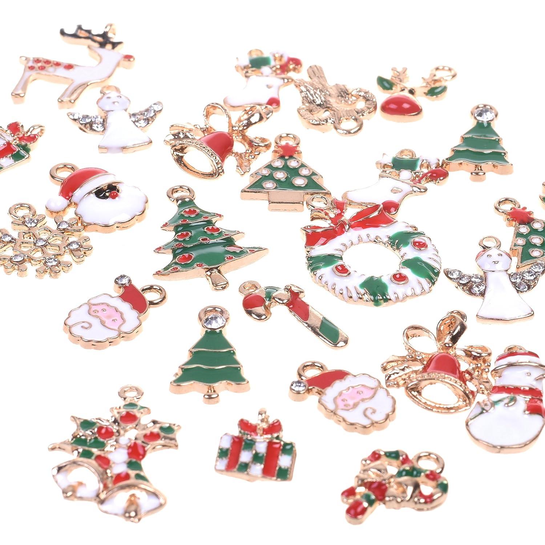 BCP 34pcs Mixed Style Christmas Tree Snowman Snowflake Deer Bell DIY Enamel Christmas Charms Decorations Pendants