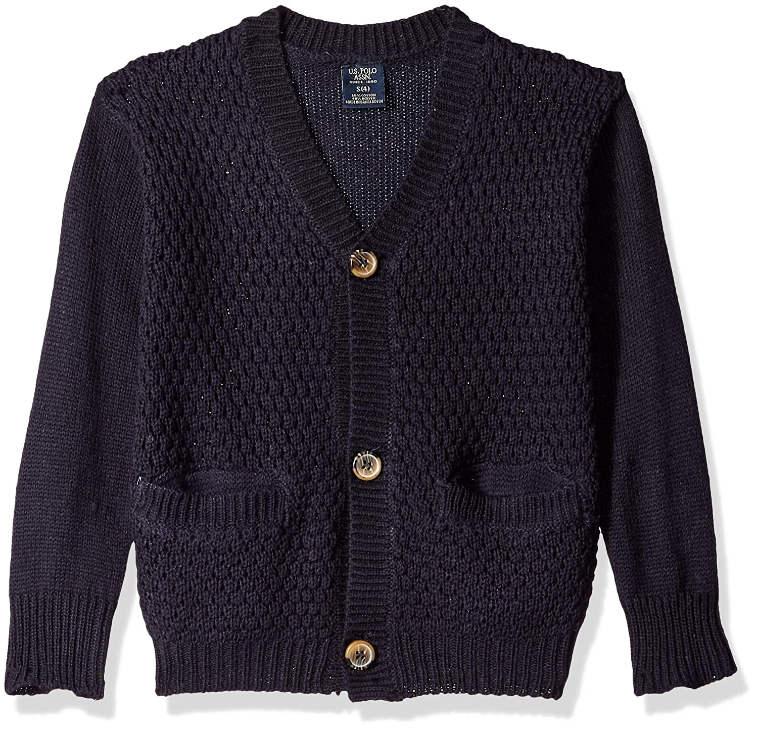 U.S. Polo Assn. Boys' Birdseye Knit Cardigan Sweater