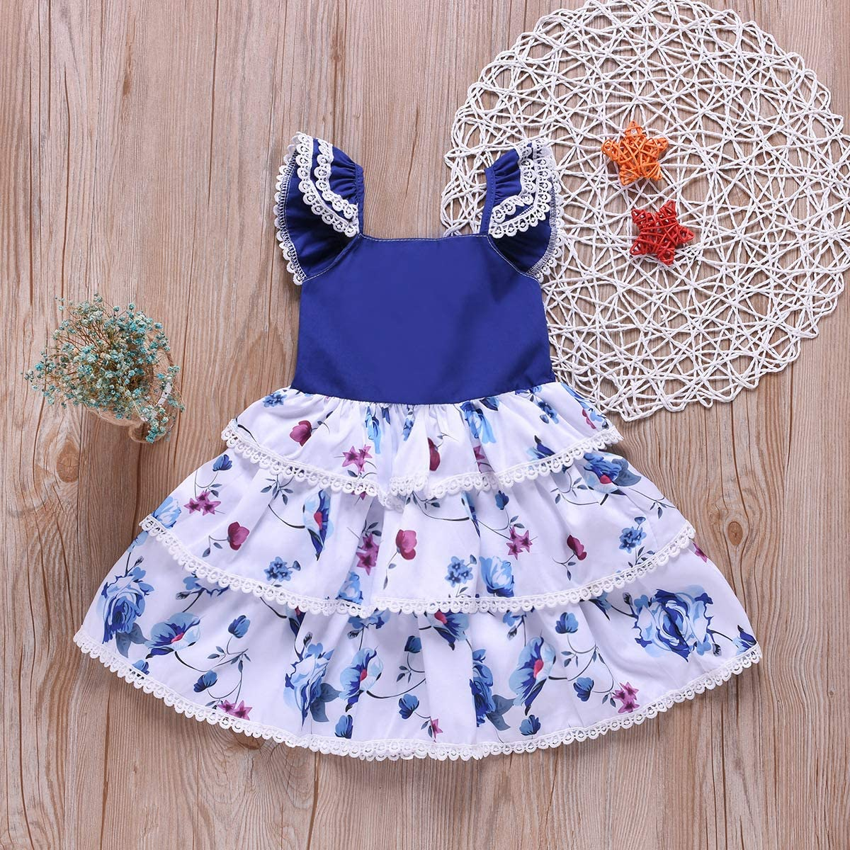 Toddler Baby Girls Ruffle Lace Floral Dress Layered Flared Cake Smash Dresses
