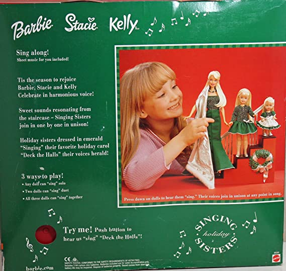 DRESS BARBIE DOLL HOLIDAY SISTERS DECK THE HALLS GREEN SILVER DRESS /& SHOES
