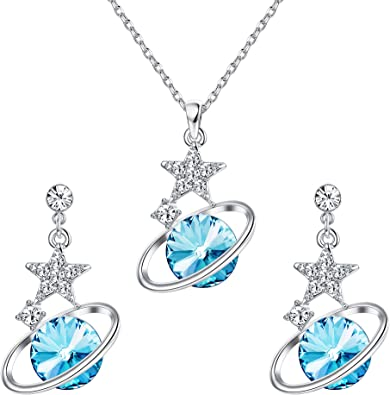 Furioso Alboroto Sureste  Amazon.com: Kesaplan Planet Jewelry Sets Made of Swarovski Crystals, Planet  Necklace and Dangle Stud Earrings Set for Women Girls Star Crystal Pendant  Necklace with Extender Chain, Jewelry Gift for Birthday Anniversary:  Clothing