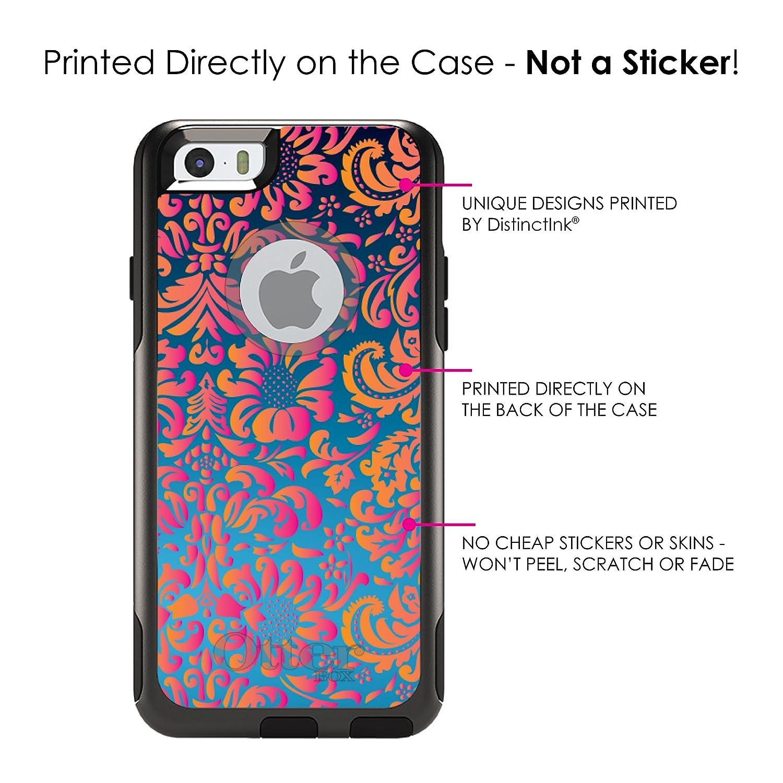 fda4ed3598e Amazon.com: DistinctInk Case for iPhone 6 Plus / 6S Plus - OtterBox Commuter  Black Custom Case - Pink Orange Blue Flower Floral: Cell Phones &  Accessories