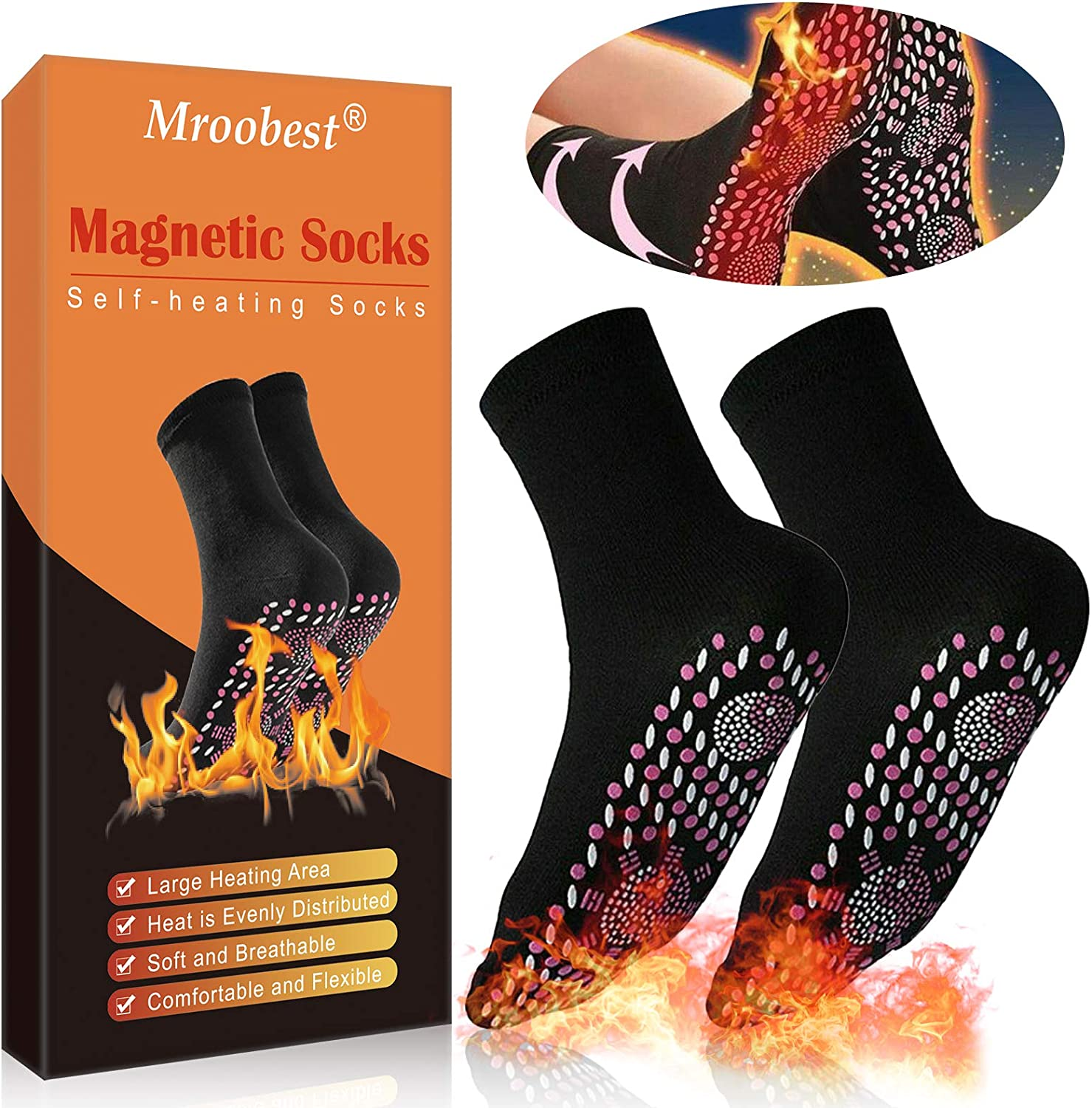 Magnetic Socks, Heated Socks, Thermal Foot Warmer Socks, Comfortable & Breathable Winter Warm Cotton Socks for Outdoor Sports/ Cycling Riding/Skiing Skating/Hiking Hunting, Men & Women