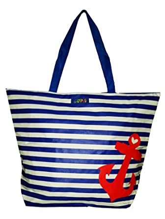 Amazon.com | XL Nautical Striped Anchor Beach Bag Tote (Blue ...