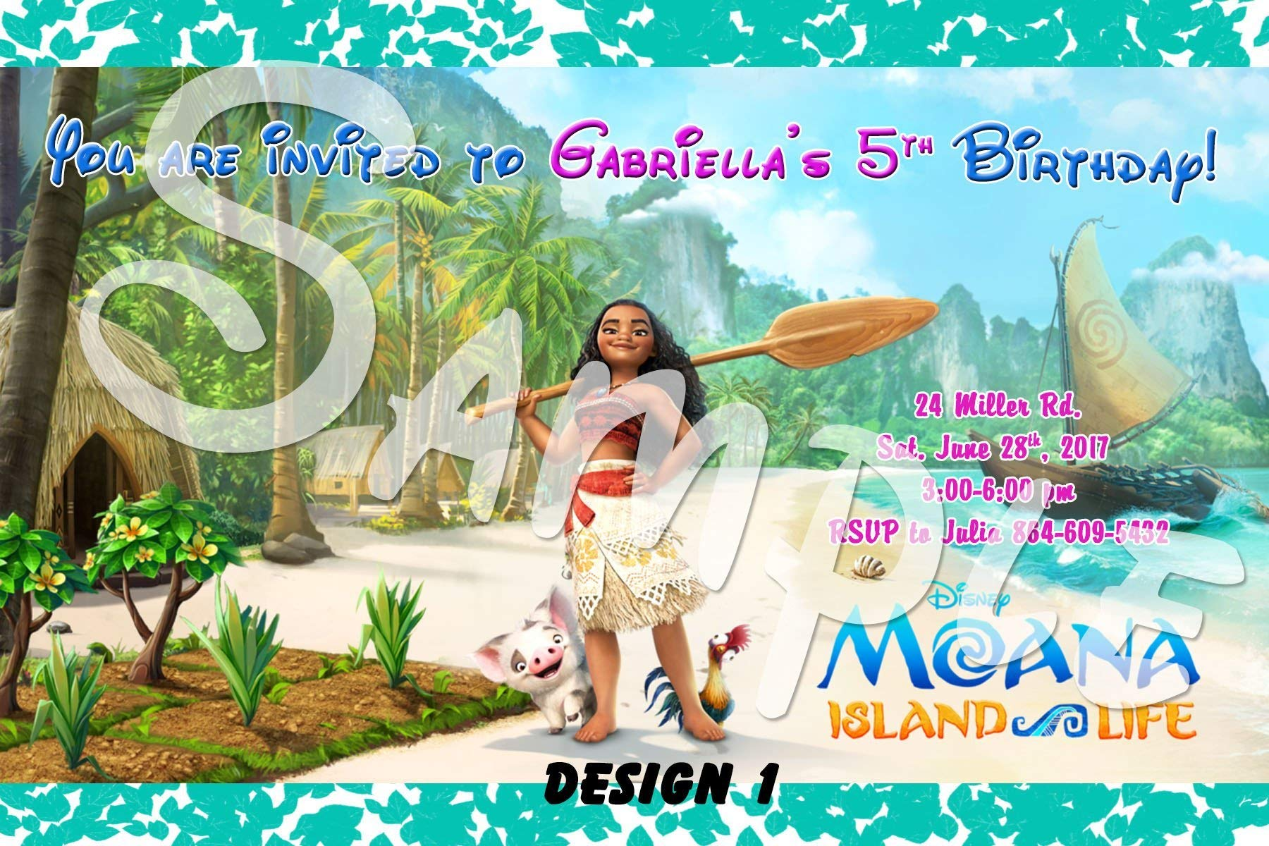 Moana Personalized Birthday Invitations More Designs inside!