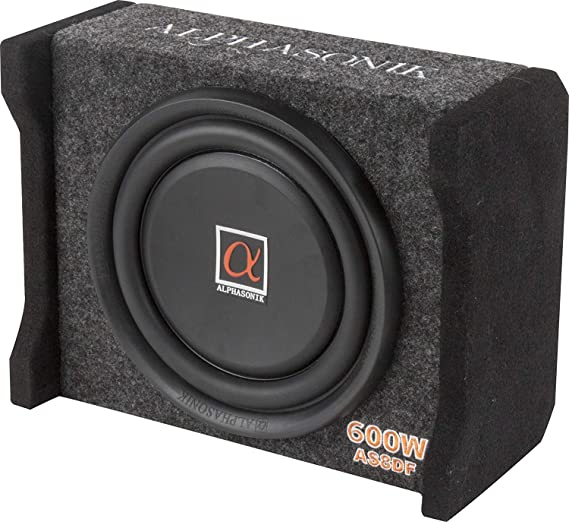 Alphasonik AS8DF 8 inch 600 Watts 4-Ohm Down Fire Shallow Mount Flat Enclosed Sub woofer for Tight Spaces in Cars and Trucks