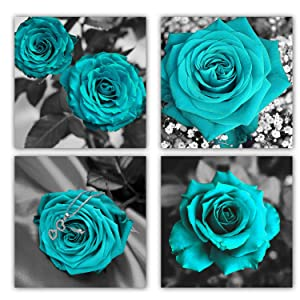Teal Rose Canvas Wall Art Blue Blossom Flowers Prints Contemporary Turquoise Pictures Artwork for Living Room Bedroom Bathroom Kitchen Office Wall Decor Framed Ready to Hang 12 x 12 Inches x 4 Pieces