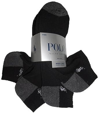 Ralph Lauren Polo hombre calcetines Athletic negro w/gris talón ...