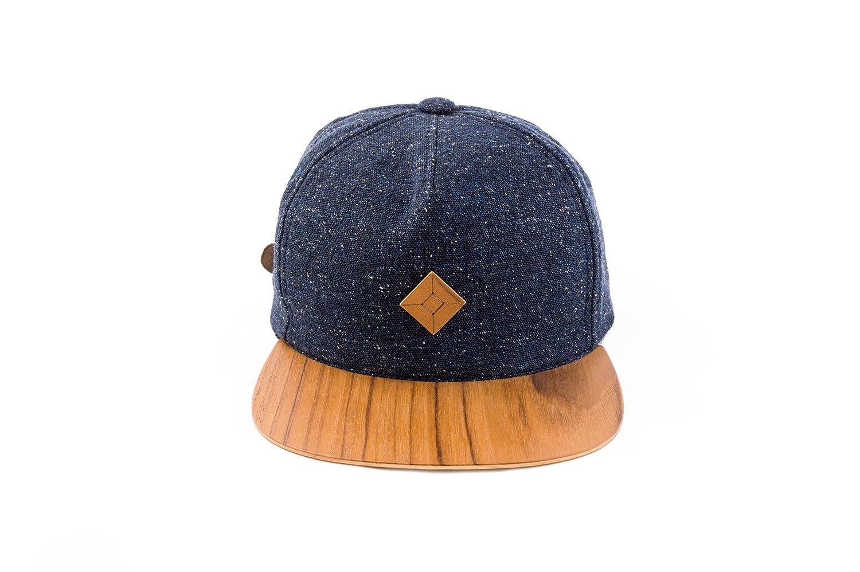 058477063f6 AUSTRA 6 Panel Snapback hat with Teak Wood Brim at Amazon Men s Clothing  store