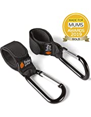 Buggy Clips by Baby Uma - Hook Your Shopping Bags on Your Pushchair or Stroller. Clip Your Handbag or Change Bag to Your Pram - Black, 2 Pack