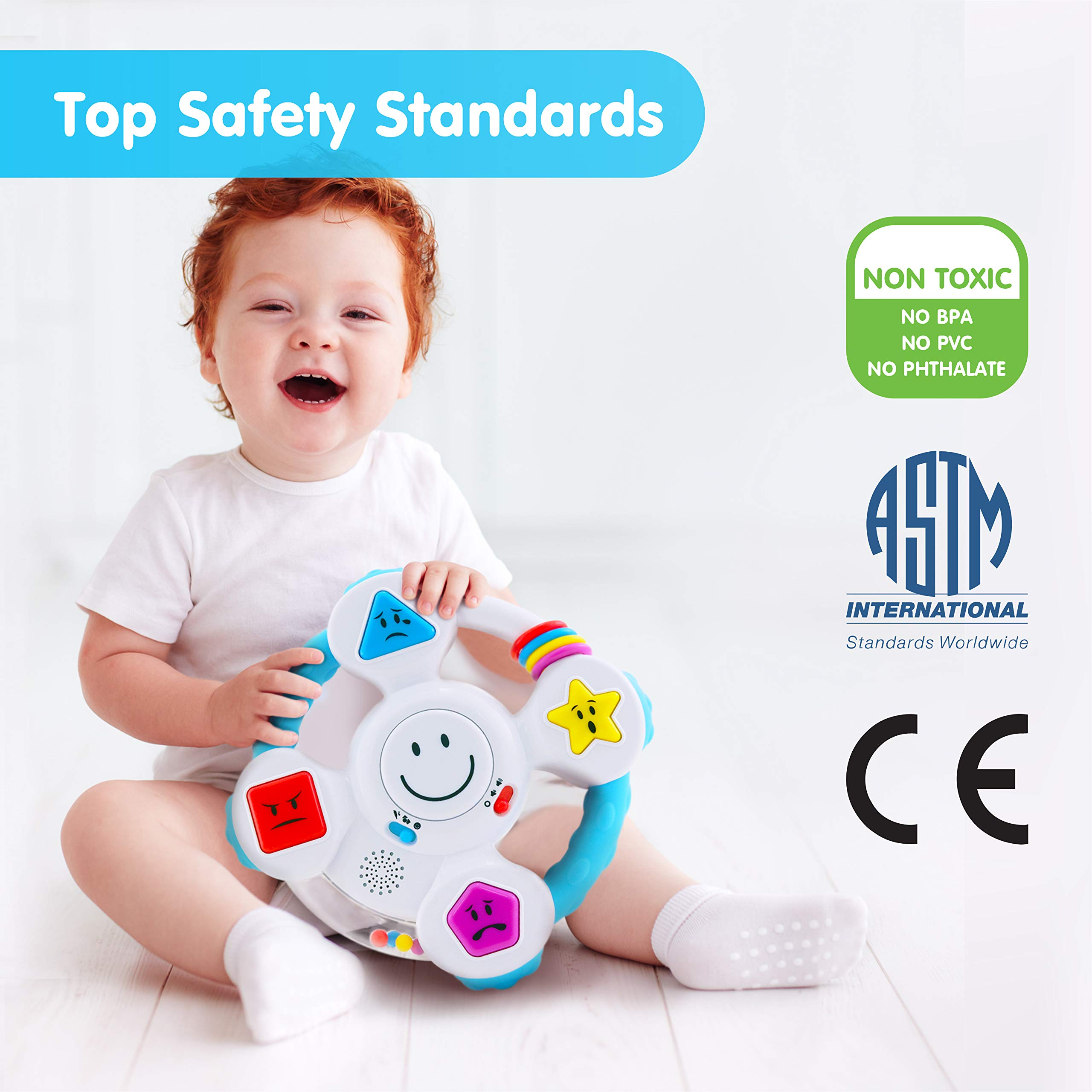 BEST LEARNING My Spin & Learn Steering Wheel - Interactive Educational Light-Up Toddler Toys for 6-36 Months Old Infants & Toddlers - Colors, Shapes, Emotions & Music Game for Babies by BEST LEARNING (Image #2)