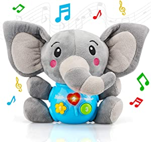 STEAM Life Plush Elephant Baby Toys - Educational Baby Toy - Musical Toy for Baby 0 to 18 Months - Baby Light Up Toys - Educational Musical Toys for Infants Babies Toddlers 0 3 6 9 12 month (Elephant)
