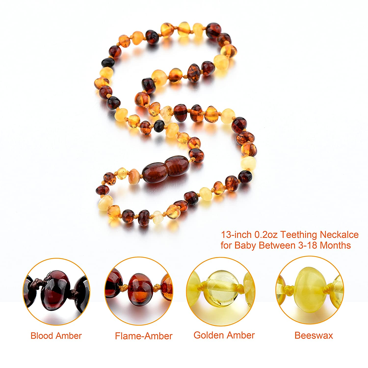 Choker Natural Unisex Raw Baltic Amber Teething Necklace for Babies Children Boys Girls Teethers Orange,Set of 2 Drooling /& Teething Pain Reduce Properties Teething Pain