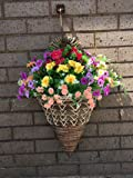Artificial Flowers Wall Mounted Basket / Outdoor, Multi Coloured Bloom Mix, Basket and Bark